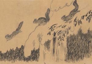 Ekorn i flukt (tegning)