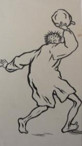 skisse 7, mann som kaster noe